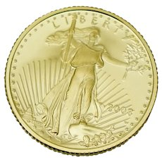 Proof 2003 W 1/10 ozt .999 Fine Gold US Eagle 5 Dollar Coin West Point Walking Liberty