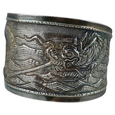 Chinese Export 900 Silver Dragon Cuff Bangle Bracelet Antique Vintage Sterling Wide