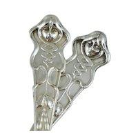 Art Nouveau Woman Face 800 Silver Spoons Antique Vintage Victorian Sterling Figural