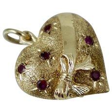 1960s HEAVY 14K Dankner Gold Ruby Puffy Heart Bow Charm Pendant Vintage Love Retro