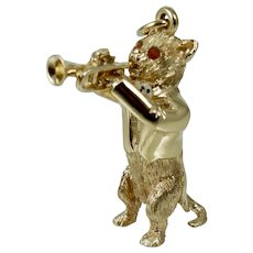 1960s 14K Dankner Musical Trumpet Cat Charm Pendant Vintage Retro Enamel Vintage