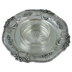 Large 800 Silver Austria Hungry Serving Crystal Glass Dish Art Nouveau Vintage Sterling Tray