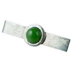American Modernist Harold Fithian Sterling Green Nephrite Jade Tie Bar Tiebar Vintage fi Silver Clip