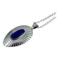 Signed Mexico Sterling Lapis Native American Style Necklace Vintage Pendant Silver Mexican