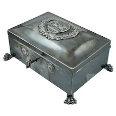 1850s Berlin Sterling Locking Sugar Box Brandenburg Gate Quadriga Silver German Napoleon Antique Vintage Victorian 1814 800