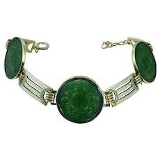 14K Art Deco Green Jadeite Green Wordley Allsopp Bliss Green White Enamel Chinese Bracelet Vintage Antique Gold WAB