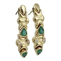 Quality 18K Diamond Emerald Dangle Drop Earrings Vintage Yellow Gold