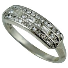 Platinum Art Deco .33 ct Diamond Wedding Band Ring Vintage Antique Baguette Single Cut Sz 4