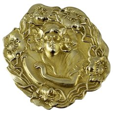 BIG 14K Art Nouveau Floral Style Vintage Pin Pendant Brooch Unger Brothers Style Yellow Gold