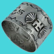Early Native American Whirling Log Good Luck Coin Silver Napkin Ring Navajo Old Pawn Vintage Antique Sterling Fred Harvey Era