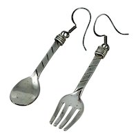 Vintage Mexican Sterling Fork and Spoon Silver Drop Dangle Earrings Mexico