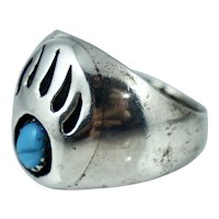 Signed Native American Sterling Turquoise Bear Paw Claw Vintage Ring Silver Sz 9