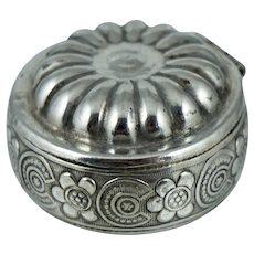 Vintage Sterling Silver Floral Trinket Pill Box Small Little Pillbox