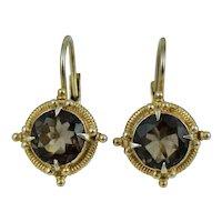 Vintage Sterling Gold Vermeil Gilt Brown Topaz Dangle Drop Earrings Silver