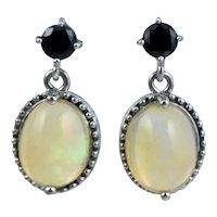 Vintage Sterling Lab Created Synthetic Opal Blue Sapphire Dangle Drop Earrings Silver