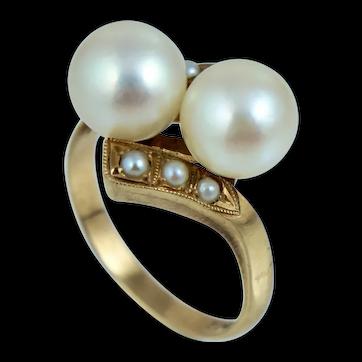 14K 8mm White Cultured Japanese Akoya Pearl Bypass Art Deco Ring Sz 6 Art Deco Vintage
