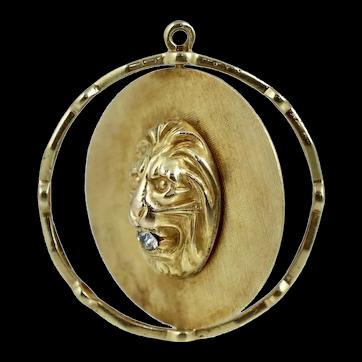 Retro 14K Spinning Lion Face Diamond Disc Charm Pendant for Necklace Vintage Art Deco Antique Large Big Yellow Gold