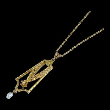 """Edwardian 10K Lavalier Diamond Pearl Pendant Necklace Antique Vintage Art Deco Victorian 16"""""""