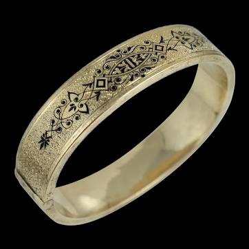 Victorian 14K Taille d'Epargne Enamel Wedding Bangle Bracelet Antique Vintage Art Nouveau Yellow Gold