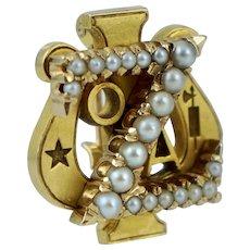 Named 1930 14K Zeta Psi Alpha Beta Chapter University of Minnesota Fraternity Pin Badge Vintage Antique Yellow Gold