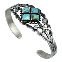 Vintage Native American Sterling Silver Old Pawn Blue Turquoise Cuff Bracelet Arrow Snake