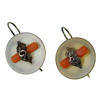 10K Victorian Agate Red Coral Gold Dangle Drop Earrings Antique
