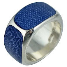 Wide Sterling Blue Resin Eternity Band Ring Sz 6.25