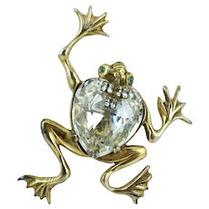 Retro Sterling Large Jelly Belly Frog Pin Brooch Gold Vermeil Silver Heart