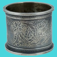 Victorian Sterling Bird Floral Silver Napkin Ring Antique Vintage