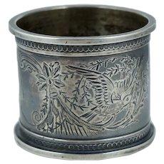 Victorian Sterling Bird Floral Silver Napkin Ring Antique Vintage