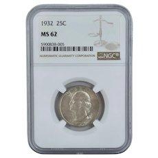 NGC MS62 1932 P Washington 90% Silver US Quarter 25 Cents Mint 25C