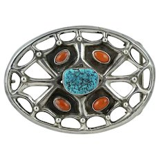 BIG Native American Sterling Turquoise Coral Spiderweb Belt Buckle Old Pawn Vintage Silver