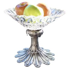 Early American George Sharp for Bailey & Co Sterling Cut Glass Fruit Bowl Sterling Silver Centerpiece Philadelphia Victorian
