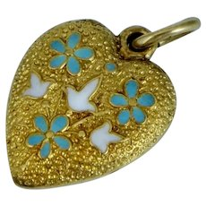 Antique Krementz 14K Enamel Puffy Heart Charm Blue White Floral Art Nouveau Vintage Pendant for Necklace