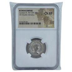 NGC Ch XF Roman Empire Gordian III AD 238 - 244 AR Double Denarius Silver Ancient Coin Graded Authentic