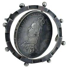 1887 Victoria Golden Jubilee 1 Shilling Sterling Flip Swivel Pin Brooch Antique Silver