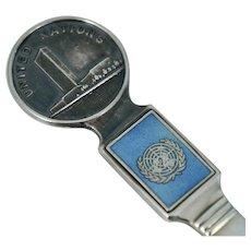 United Nations T.H. Marthinsen Sterling Blue Enamel Souvenir Spoon UN Norway Vintage
