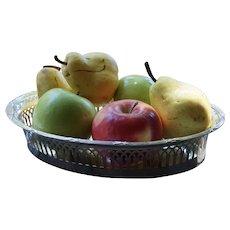 Large Antique French 950 Sterling Silver Pierced Basket Dish Tray Vintage Fruit Bread Trinket