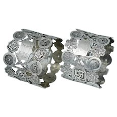 Dated 1928 Pair Chinese Export Sterling Silver Pierced Character Napkin Ring Holder Figural Floral Cash Coin Antique Vintage Pierced
