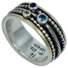 PAZ 14K Sterling Peridot Amethyst Blue Topaz  Spinner Worry Ring Band Sz 9.5 Israel PZ