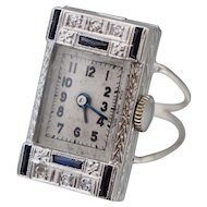 Art Deco 18K Diamond Watch Ring