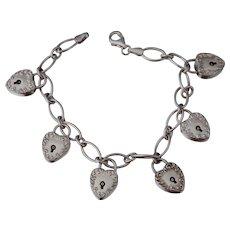 Vintage Sterling Puffy Heart Padlock Bracelet