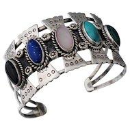 Signed Carmelio Patania Native American Sterling Turquoise Multistone Cuff Bracelet Bangle