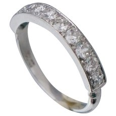 Art Deco Platinum 1 Carat Diamond Band Ring Sz 6 3/4 Half Eternity