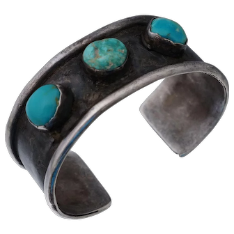 Old Pawn Native American Turquoise Sterling Cuff Bangle Bracelet Fred Harvey Era