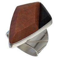 DTR Jay King Sterling Agate Onyx Ring Sz 7