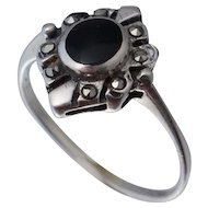 Vintage Onyx & Marcasite Sterling Ring Sz 7