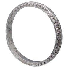1920 Pristine Art Deco Platinum Wedding Band Ring Sz 6.75