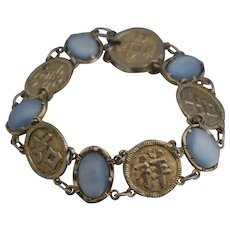 Chinese Export Sterling Moonstone Bracelet Guangxu Qing Dynasty Silver