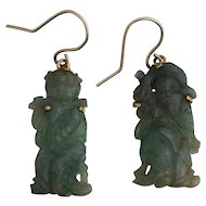 Vintage 14K Carved Green Jade Earrings Figure Figurines
